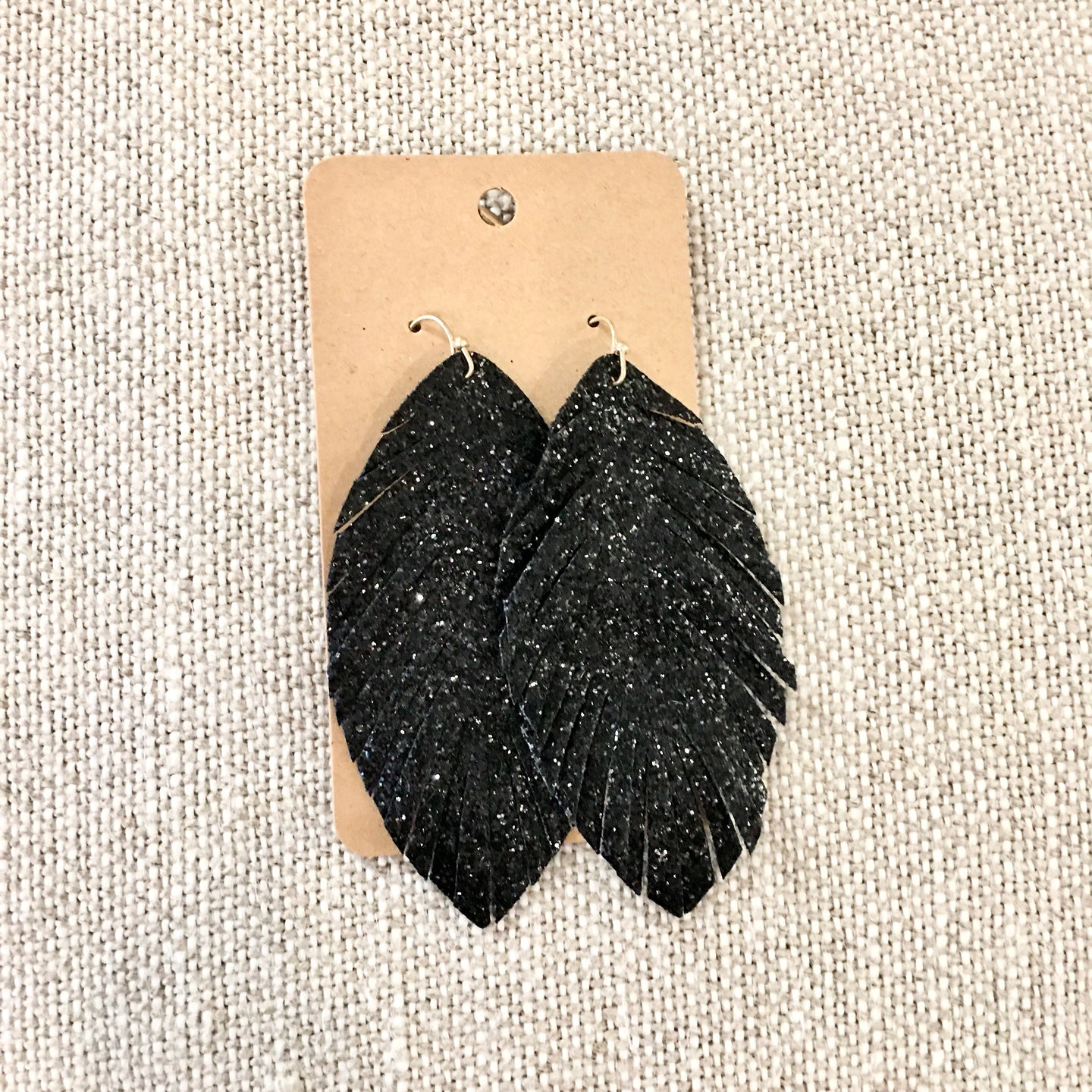 Glitzy Black Feather Earrings