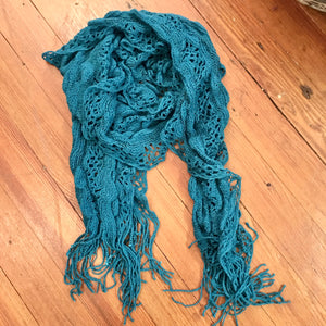 Ruffle Knitted Scarf in Turquoise