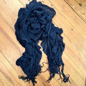 Knitted Textured Scarf in Navy