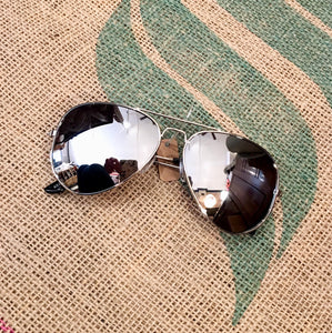 Looking Sharp Aviator Sunglasses in Silver MEN
