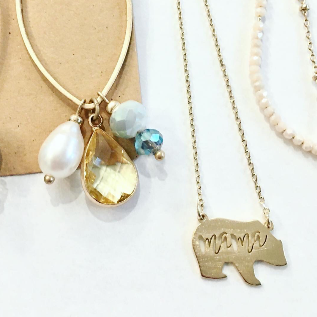 Mama Bear Necklace in Gold