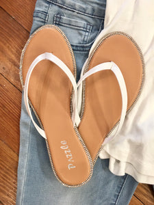 Sparkle Darling Narrow Strap Flip Flops in White