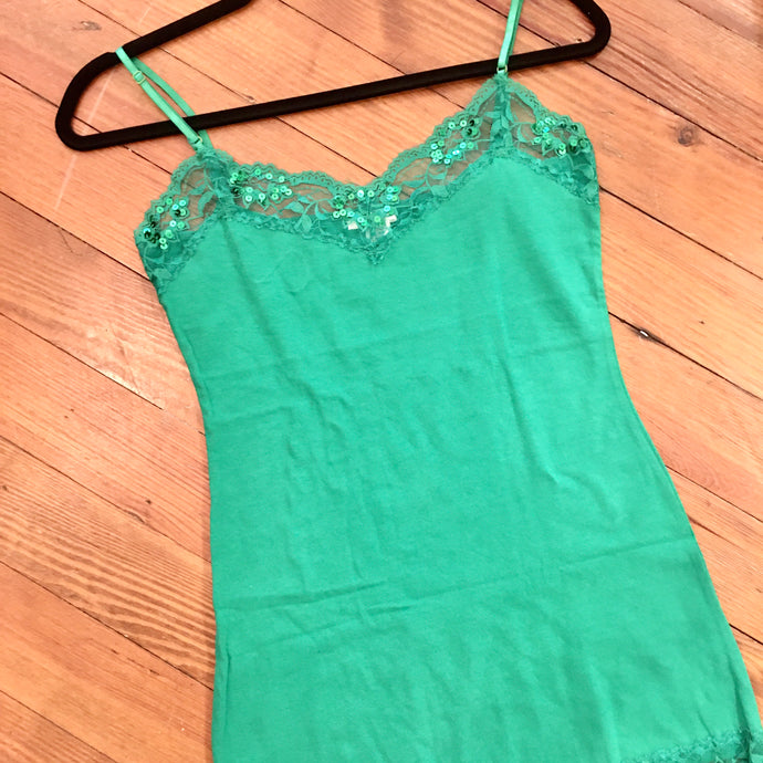When in Rome Lace Sequin Camisole in Emerald