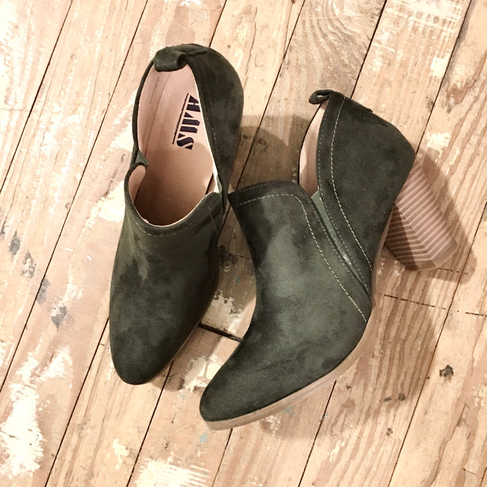 Start Walking Suede Ankle Boots in Olive