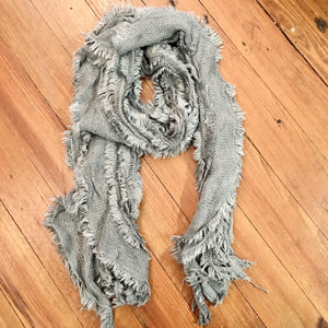 Sparkle Thread Knitted Scarf in Gray