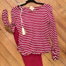 Load image into Gallery viewer, Be My Baby Striped Top in Burgundy