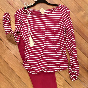 Be My Baby Striped Top in Burgundy