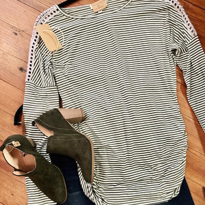 Come Blow Your Horn Striped Top in Olive