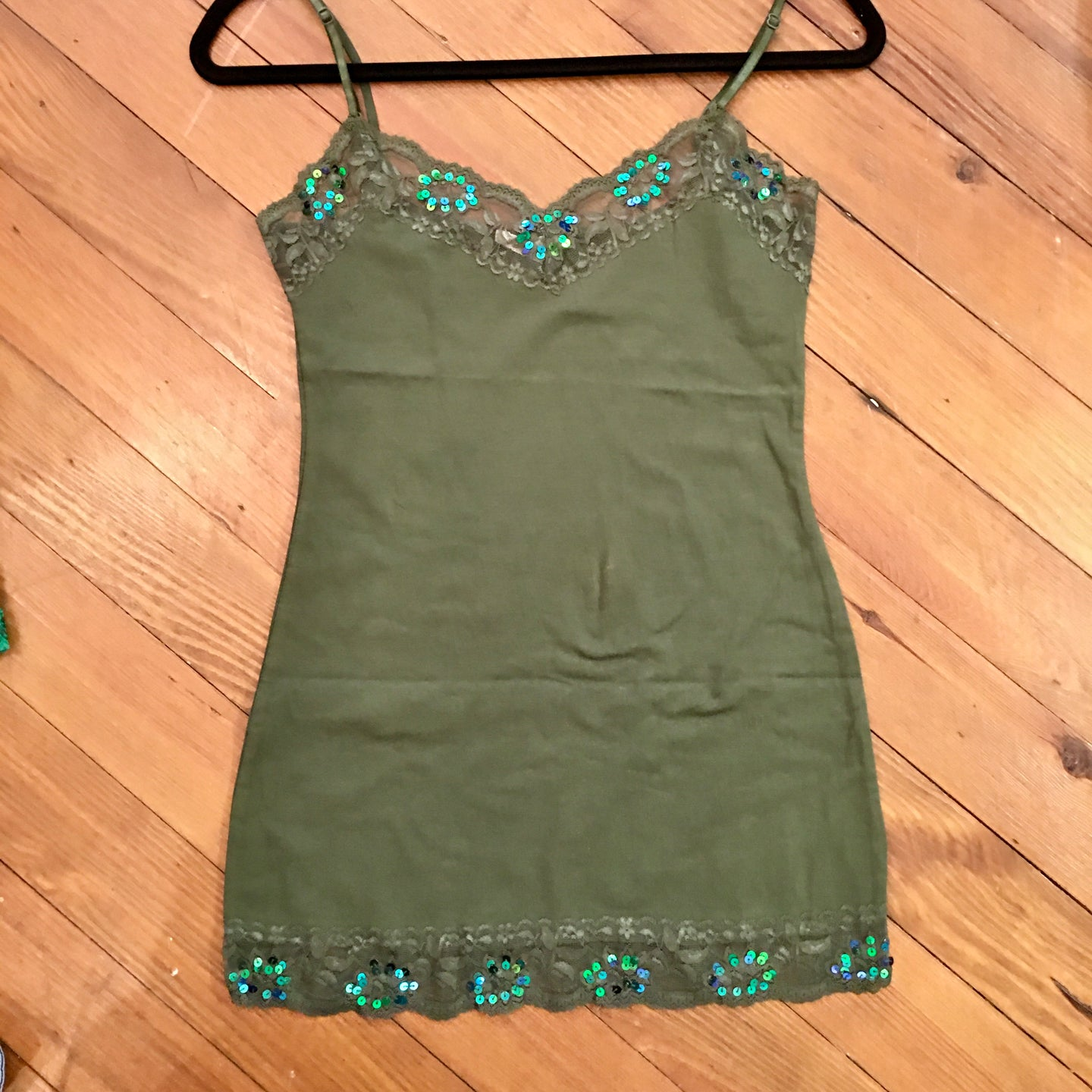 When in Rome Lace Sequin Camisole in Olive