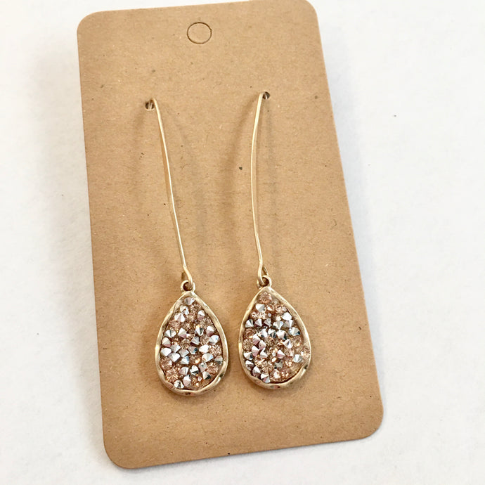 Let's be Friendly Long Glitzy Dangle Earrings