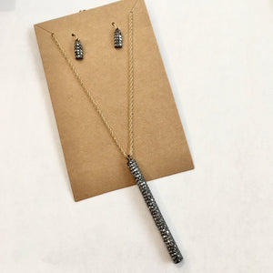 Holiday Cheer Long Pave Bar Pendant Necklace Set