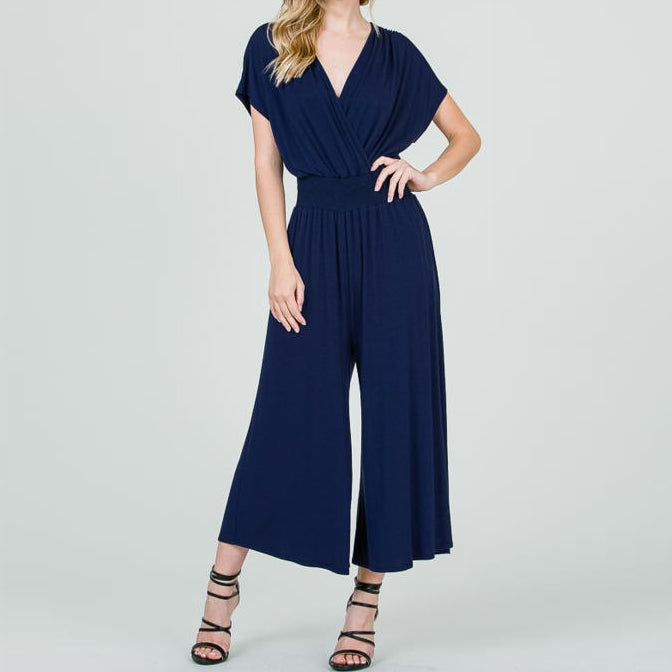 Effortless Surplice Jumpsuit with Smocked Waistband