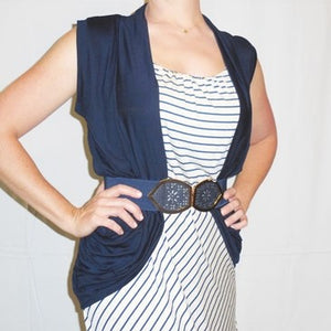 Making Memories Lace Back Vest in Navy