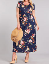 Load image into Gallery viewer, Navy Floral Maxi Dress