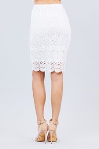 Feeling Fancy Lace Skirt in Off White