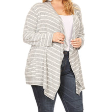 Load image into Gallery viewer, Forever Classic Striped Cardigan PLUS