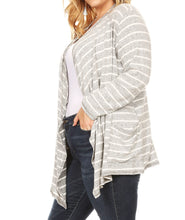 Load image into Gallery viewer, Striped Draped Cardigan