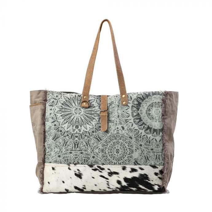 Green Floral Print Weekender Bag by MYRA