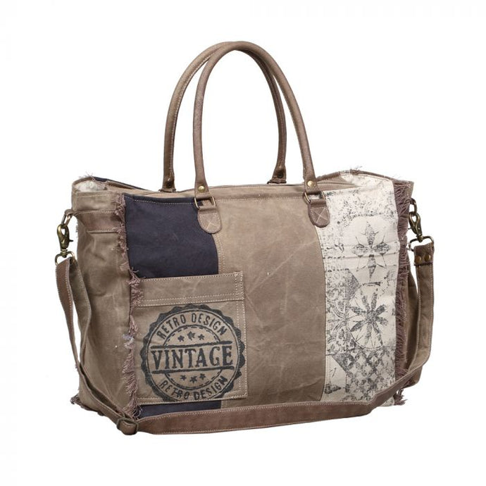 Retro Print Weekender Bag by MYRA