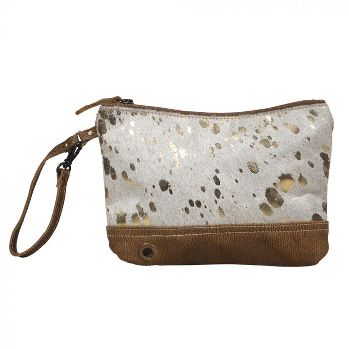 Suave Leather Pouch with Gold Foil Cowhide by MYRA