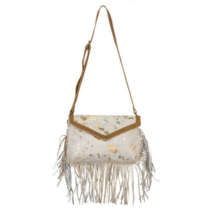 Golden Girl Hairon Bag Purse with Fringe by MYRA