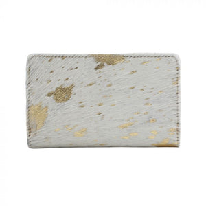 Gold Indulgence Leather and Hairon Wallet by MYRA