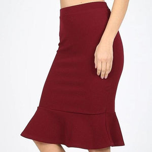Thinking of You Peplum Skirt in Burgundy