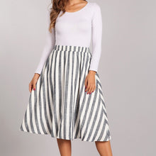 Load image into Gallery viewer, Come Fly with Me Striped Midi Skirt