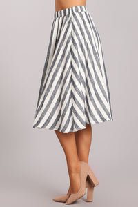 Come Fly with Me Striped Midi Skirt