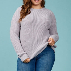 Let's Get Cozy Knitted Sweater in Dusty Violet PLUS