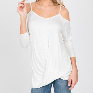 Weekend Ready Twist Front Top in Ivory