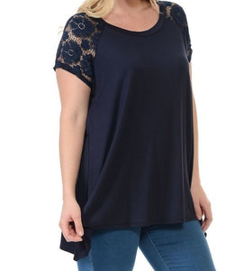 Navy Lace Sleeve Top