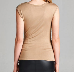 Tan Shirred Top