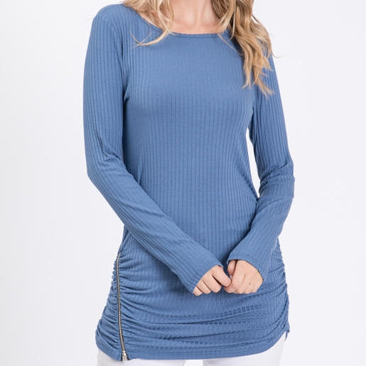 Chilly Beach Day Ribbed Top with Zipper Detail