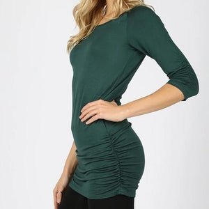 Green Shirred Tunic Top
