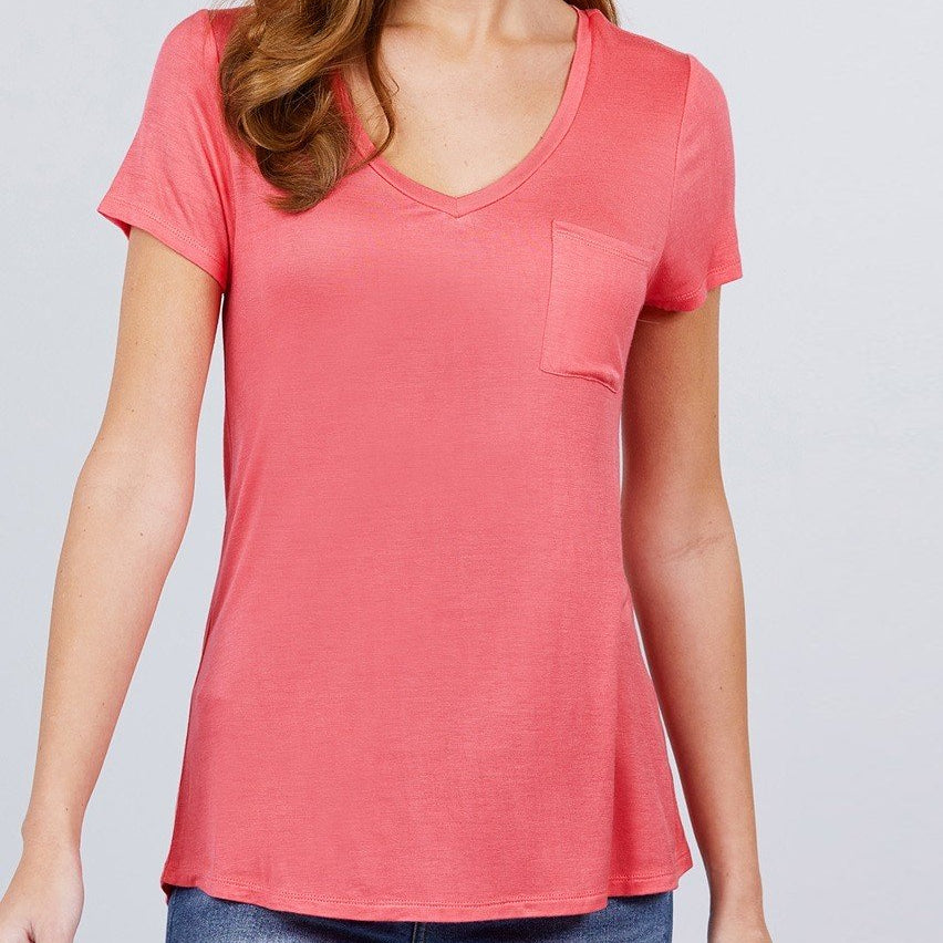 V is for Victory Relaxed Pocket Tee in Coral