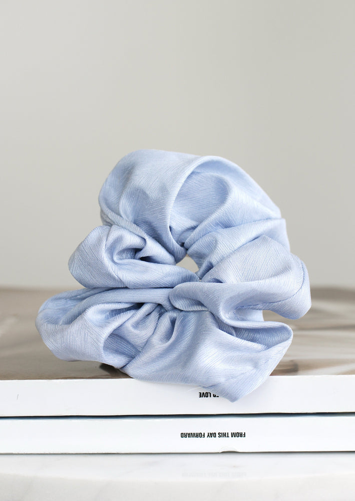 Thea Oversized Satin Scrunchie | Baby Blue