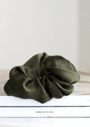 Thea Oversized Satin Scrunchie | Olive