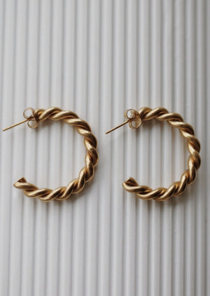 Load image into Gallery viewer, May Martin Sarah Hoops | Gold Dipped