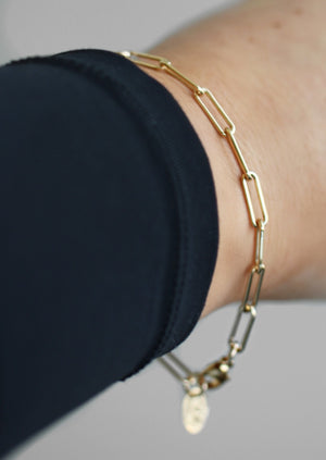 Load image into Gallery viewer, KW Paperclip Chain Bracelet | Gold