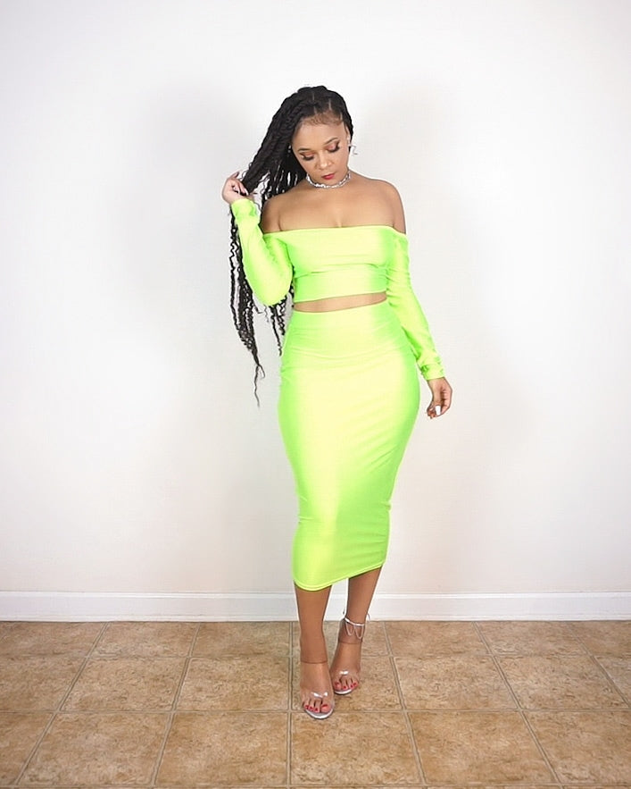 """Jade"" Midi Skirt Set (Lime Green)"