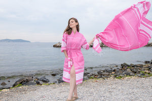 Cotton Kimono Peshtemal Bathrobe Birgie Minimal- Pink - Birgie Home