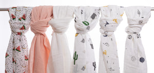 Muslin Swaddling Breathable Multi Use Blanket- Cute Cactus - Birgie Home