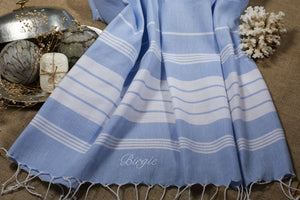 Cotton Peshtemal Birgie Minimal- Light Blue - Birgie Home