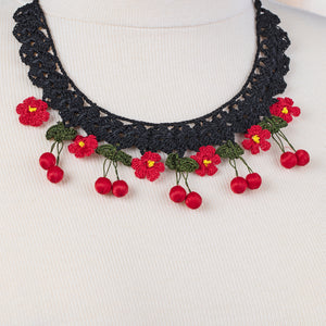 Handmade Traditional Birgi Necklace with Crochet Lace Red - Birgie Home