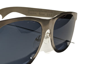 Proudly designed in Houston, TEXAS USA  100% percent aerospace grade titanium frame and bottle opener-style temples. 100% percent titanium sunglasses. Compare to the big names (You know who we mean...) of Polarized Luxury Designer Sunglasses Brands
