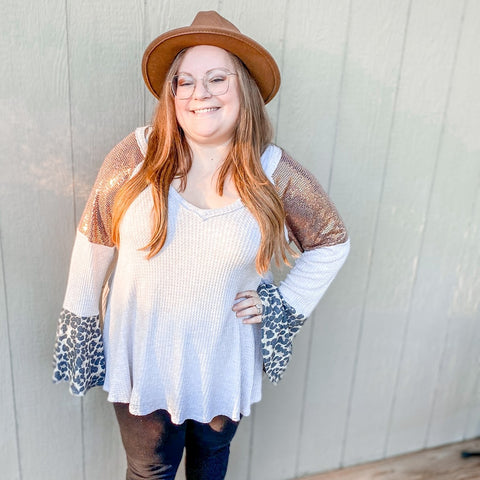 Sequin & Leopard Bell Sleeve V-Neck Waffle Top