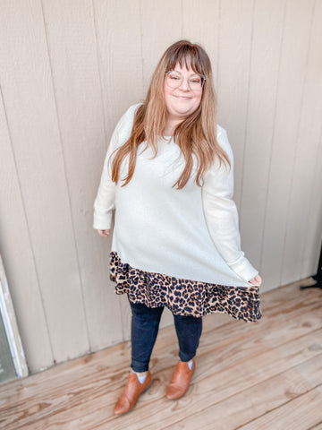 Leopard Contrast Sweater Tunic