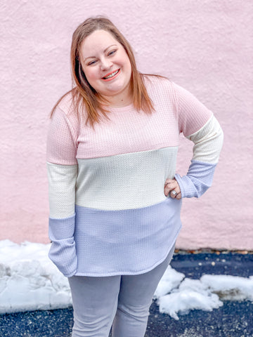 Plus Size Color Block Waffle Top