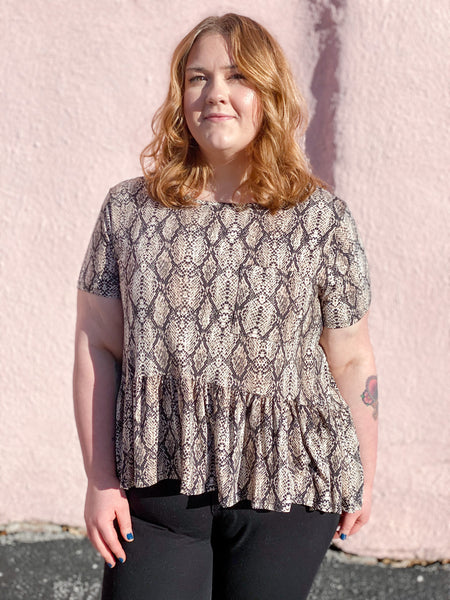 Plus Snakeskin Print Peplum Top